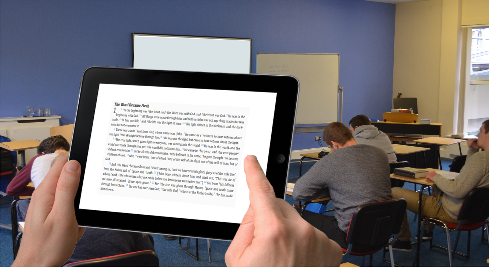lecture room with tablet with text of John 1